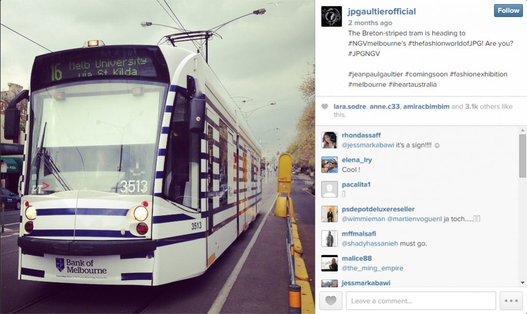 Jean Paul Gaultier-inspired tram Instagram post by JPG
